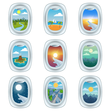 Group of airplane windows with different views. Airplane window view night holiday vacation. Commercial airline, clouds sunset airplane window view. Clean window travel airplane set.