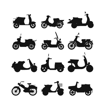 speed ride: Set of vector vintage scooters retro motorbike. Retro motorbike motor transport old travel bike. Design engine retro motorbike black road urban drive scooter. Stylish hipster beautiful auto. Illustration