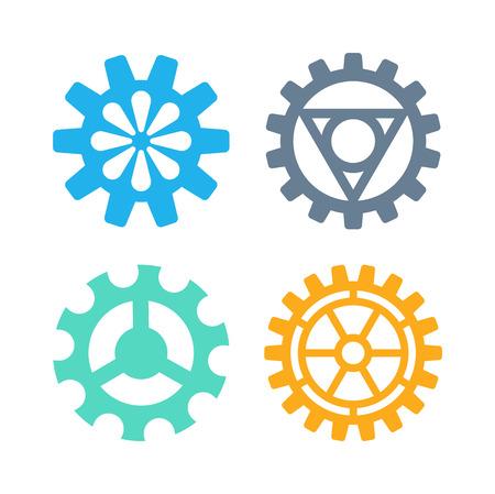 ingenieria industrial: Vector artes conjunto de iconos de la máquina mecanismo de rueda de maquinaria mecánica, tecnología de señal técnica. símbolo de ingeniería, elemento ronda engranajes iconos. Iconos de engranajes funcionan concepto, el diseño industrial.
