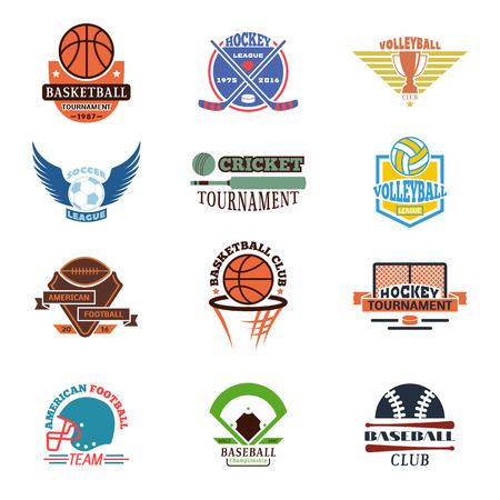 team sports: logotipos de plantilla para los equipos de deportes con pelotas diferentes y símbolos. establece la competencia del torneo campeón gráfico logotipo del equipo deportivo insignia. Vector club de juego de equipo logotipo del deporte del elemento de placas. Vectores