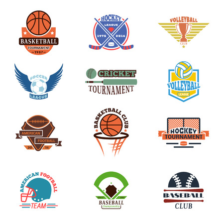 sports team: Template logos for sports teams with different balls and symbols. Tournament competition graphic champion sport team logo badge set. Vector club game element sport team logo badge.