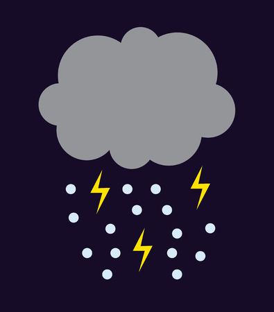 overcast: Lightning vector icon storm cloud. Storm cloud weather sky dark nature dramatic cloudscape. Danger stormy, thunderstorm symbol storm cloud natural scenic meteorology overcast scene. Illustration