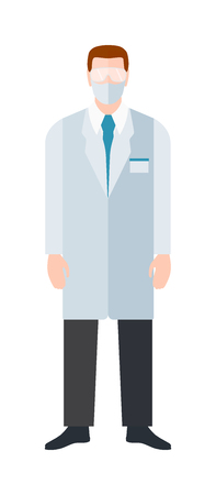 practitioner: Doctor flat vector illustration. Doctor man with medical documents, health specialist. Doctor silhouette professional hospital people. Man surgeon practitioner coat Illustration