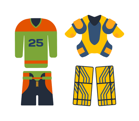 attribution: Hockey uniform set. Vector hockey uniform and accessory in flat style. Isolated hockey uniform equipment and hockey uniform athlete. Hockey attribution clothes and accessories hockey sweater and socks Illustration