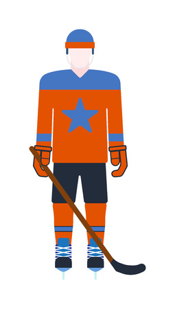 ice hockey player: Hockey player man isolated vector illustration playing hockey. Man hockey player game sport and cartoon character hockey player. Hockey player ice game sport athlete. Illustration