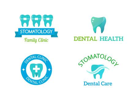 dent: Dentist logo implants vector medical symbol collection. Clean dentist logo bright designs medical icon health care. Healthy hygiene dentist logo, oral blue logotype implant dent business shape.