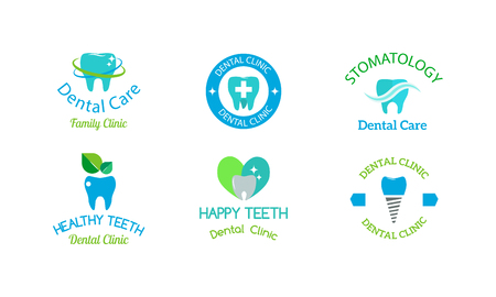 Dentist logo implants vector medical symbol collection. Clean dentist logo bright designs medical icon health care. Healthy hygiene dentist logo, oral blue logotype implant dent business shape.