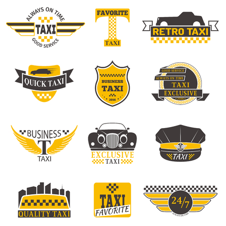 Conjunto de insignias de taxis clásicos y modernos, etiquetas de taxi, taxi insignias y elementos de diseño taxi. El servicio de taxi de negocios firma plantillas, iconos, logotipo de taxi elementos de diseño de identidad corporativa y los objetos vectoriales.