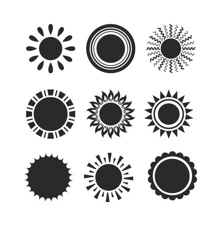 Vector del icono del sol aislado en el fondo blanco. Sun aislado del icono del vector del diseño del verano. Vector símbolo de sol amarillo. Domingo de vectores elemento de sol. Sun icono tiempo vector de sol aislados símbolo