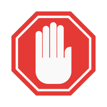 hand sign: Prohibition hand stop sign vector illustration. Warning danger symbol prohibiting sign. Forbidden safety information prohibiting sign. Protection signs warning information sign.