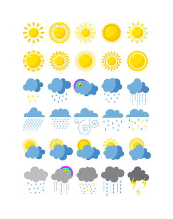 Mega Pack von Wetter-Icons Schnee Klima, Sonne Prognose, Regensturm. Snowflake set Wolke Wettersymbole Wind Mond. Wetter-Icons bewölkt Design Himmel Natur Temperatur sonnig, kalt Gewitter Saison. Vektorgrafik