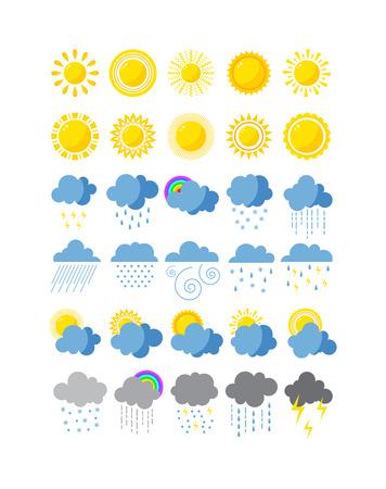 mega paquete de iconos del tiempo climático de la nieve, la previsión del sol, tormenta de lluvia. Copo de nieve establece luna iconos del tiempo nube de viento. Iconos del tiempo diseño del cielo nublado con sol, la temperatura naturaleza temporada fría tormenta eléctrica. Ilustración de vector