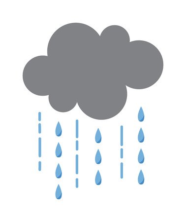 Vector illustration of cool single weather rain cloud icon. Rain cloud with raindrops in dark sky. Rain weather sky climate storm symbol cloud. Cold season water nature forecast element. Ilustração