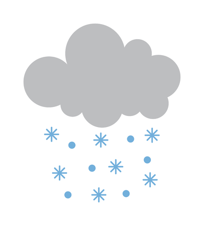 cloudy day: Single weather icon cloud with snow storm meteorology winter element. Illustration blue snow cloud on white. Cloudy climate snow cloud. Winter cloud snow day symbol. Meteorology winter element.