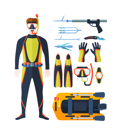 spearfishing: Set of equipment with flat yellow elements for diving and spearfishing in sea rivers and lakes. Spearfishing underwater sea diver equipment. Vector professional hunter spearfishing diving equipment. Illustration