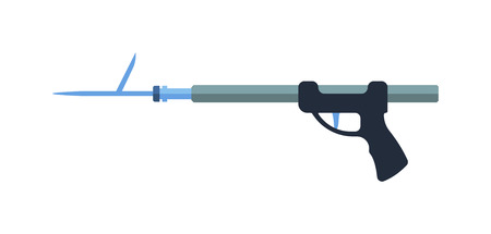 spearfishing: Flat design icon of fishing speargun fish gun. Vector illustration fish gun weapon. Underwater fishing gun icon design and speargun underwater equipment spearfishing. Professional sharp speargun.