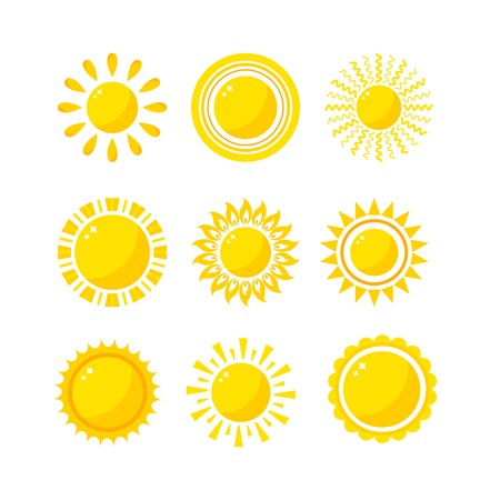 estrella caricatura: Vector del icono del sol aislado en el fondo blanco. Sun aislado del icono del vector del diseño del verano. Vector símbolo de sol amarillo. Domingo de vectores elemento de sol. Sun icono tiempo vector de sol aislados símbolo