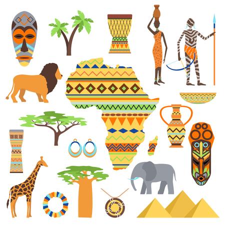 tribu: símbolos africanos y el icono de Safari viajes, viajes conjunto de elementos. Cartel símbolos africanos conjunto de diseño étnico africano. Icono del recorrido del arte al sur de África y los símbolos de diseño antiguo del vector animal viaje.