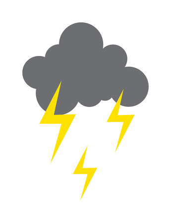 Lightning vector icon storm cloud. Storm cloud weather sky dark nature dramatic cloudscape. Danger stormy, thunderstorm symbol storm cloud natural scenic meteorology overcast scene. Illustration