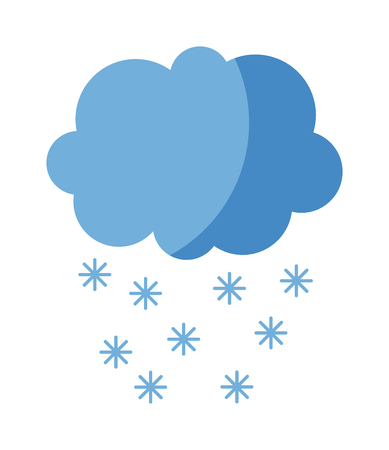 Single weather icon cloud with snow storm meteorology winter element. Illustration blue snow cloud on white. Cloudy climate snow cloud. Winter cloud snow day symbol. Meteorology winter element.