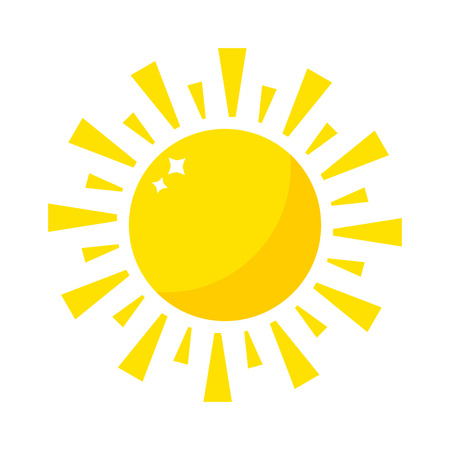 Vector sun icon isolated on white background. Sun Vector isolated summer icon design. Vector yellow sun symbol. Vector sun sun element. Sun weather icon vector sun isolated sign symbol Illusztráció