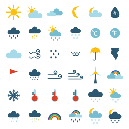 cold weather: Weather icons thin line style flat design travel storm fog cold rainy climate. Weather thin icons cloud flat design. Snowflake wind, sun, web temperature nature forecast weather thin icons. Illustration