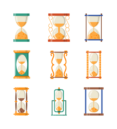 sand watch: Transparent sandglass icons set, time hourglass, sand clock flat design history second old object. Vector illustration sand clocks hourglass timer hour minute watch countdown flow measure.