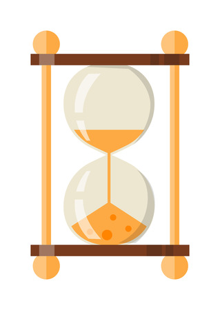 trickle: Transparent sandglass icon, time hourglass, sand clock flat design history second old object. Vector illustration sand clocks hourglass timer hour minute watch countdown flow measure.
