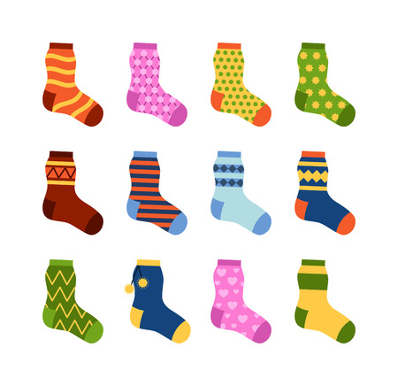 Flat design colorful socks set vector illustration. Selection of various socks on white background. Textile warm clothes socks pair cute decoration wool winter clothing. Sport season collection.