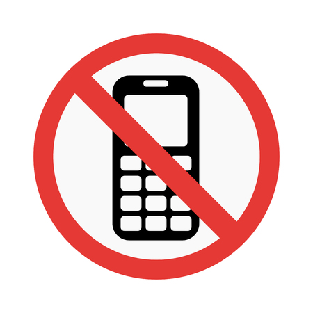 sign not to talk by phone: No phone sign vector illustration