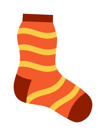 Flaches Design bunten Socken Symbol Vektor-Illustration. Die Auswahl der vaus Socken auf weißem Hintergrund. Textile warme Kleidung Socken Paar nette Dekoration Wolle Winterkleidung. Sport Saison Sammlung. Standard-Bild - 59439513