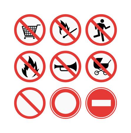 no correr: Se�ales de prohibici�n establece la ilustraci�n vectorial. S�mbolo de advertencia de peligro prohibici�n de signos. informaci�n de seguridad Prohibida la prohibici�n de signos. se�ales de protecci�n de animales dom�sticos sin se�al de advertencia de la informaci�n.