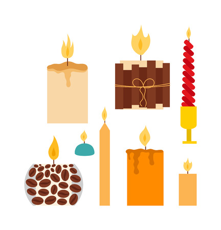 hope symbol of light: Vector candles in flat style. Candles light flame christmas candlelight wax decoration. Celebration glowing religion candles birthday traditional decoration. Romance night bright flame.