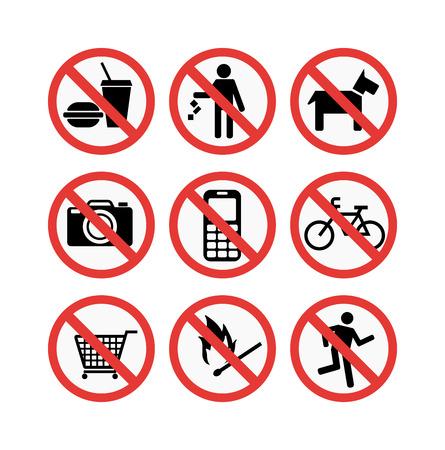 prohibiting: Prohibition signs set vector illustration. Warning danger symbol prohibiting signs. Forbidden safety information prohibiting signs. Protection signs no pet warning information sign. Illustration