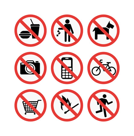 Prohibition signs set vector illustration. Warning danger symbol prohibiting signs. Forbidden safety information prohibiting signs. Protection signs no pet warning information sign. Stock Illustratie