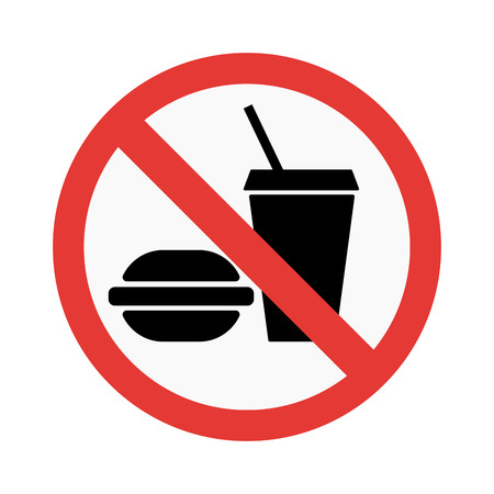 Prohibition No food sign vector illustration. Warning danger symbol prohibiting sign. Forbidden safety information prohibiting sign. Protection signs warning information sign.