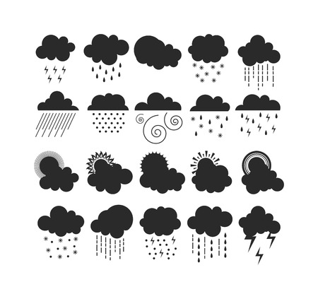 rainy sky: Mega pack of weather black silhouette icons snow climate, sun forecast, rainy storm. Snowflake set wind moon cloud weather icons. Weather icons cloudy design sky nature temperature sunny Illustration