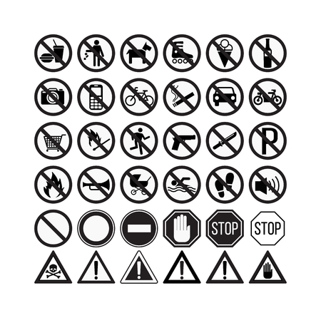 no cameras allowed: Prohibition signs set vector illustration. Warning danger symbol prohibiting signs. Forbidden safety information prohibiting signs. Protection signs no pet warning information sign. Illustration