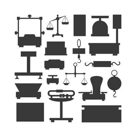 equilibrium: Web icon scales, weigh measurement. Isollated scales weighing equilibrium weight balance. Freedom industry scales icons vector instrument. Scales for technology design Illustration