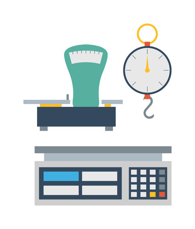 to weigh: Web icon scales, weigh measurement. Isollated scales weighing equilibrium weight balance. Freedom industry scales icons vector instrument. Scales for technology design Illustration