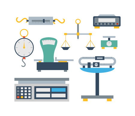 instrument of measurement: Web icon scales, weigh measurement. Isollated scales weighing equilibrium weight balance. Freedom industry scales icons vector instrument. Scales for technology design Illustration