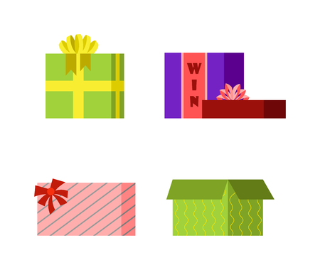 surprise box: Vector gift box cardboard empty container packaging. Gift box carton package paper, ribbon bow. Gift box celebration holiday warehouse receive icon Illustration