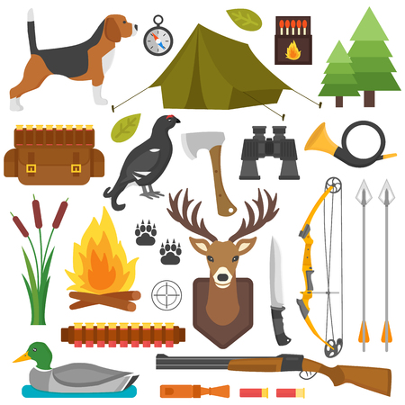 duck hunting: Set of vintage hunting symbols. Set of hunting and camping objects vector design elements vintage cartoon style. Deer head, hunter weapons, forest wild animals and other hunting symbols isolated.