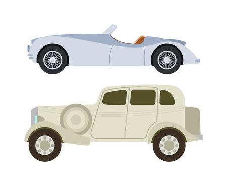 Coches retro iconos del vector de la vendimia. Clásico vehículo de auto transporte de coches retro. Retro nostalgia automóvil coche viejo diseño. establecen ruedas antiguos gráfico del emblema de motor de carreras de taller de máquinas. Foto de archivo - 59986669