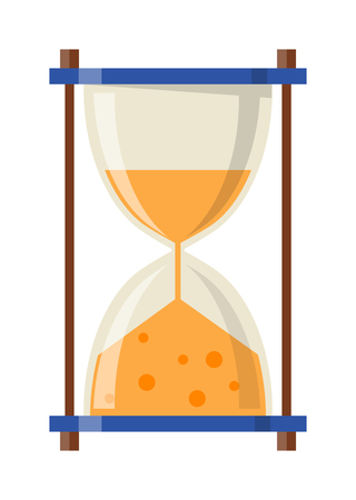 sand watch: Transparent sandglass icon, time hourglass, sand clock flat design history second old object. Vector illustration sand clocks hourglass timer hour minute watch countdown flow measure.