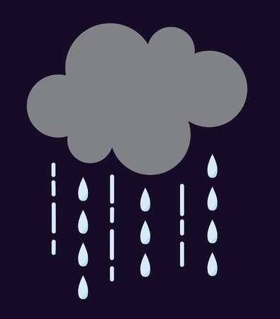 storm cloud: Vector illustration of cool single weather rain cloud icon. Rain cloud with raindrops in dark sky. Rain weather sky climate storm symbol cloud. Cold season water nature forecast element. Illustration
