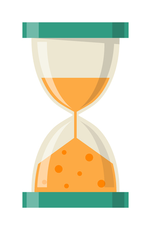 old timer: Transparent sandglass icon, time hourglass, sand clock flat design history second old object. Vector illustration sand clocks hourglass timer hour minute watch countdown flow measure.