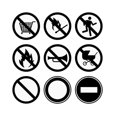 no cameras allowed: Prohibition signs black icons set vector illustration. Warning danger symbol prohibiting signs. Forbidden safety information prohibiting signs. Protection signs no pet warning information sign.