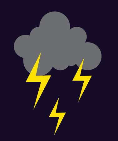 hurricane disaster: Lightning vector icon storm cloud. Storm cloud weather sky dark nature dramatic cloudscape. Danger stormy, thunderstorm symbol storm cloud natural scenic meteorology overcast scene. Illustration
