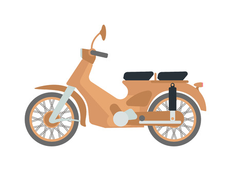 speed ride: Vector vintage scooters retro motorbike. Retro motorbike motor transport old travel bike. Design engine retro motorbike black road urban drive scooter. Stylish hipster beautiful auto. Illustration